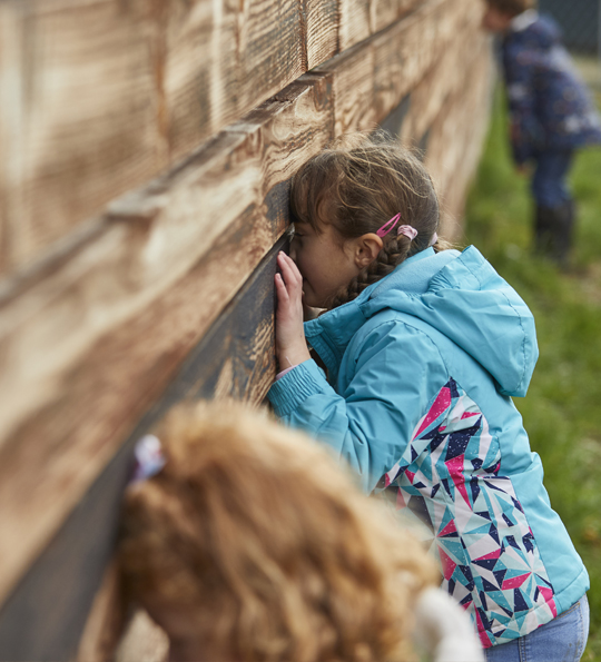Children enjoying the farm experience looking through the races