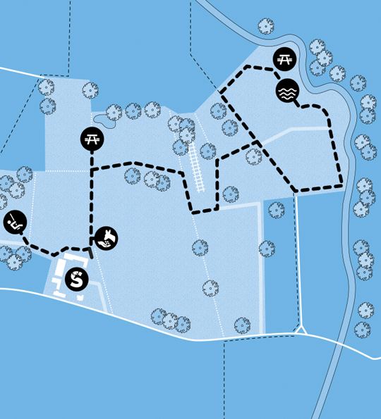 A map of Sky Park Farm prividing directions around the grounds