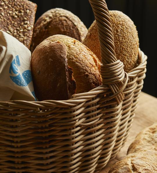 Fresh bread in a basket at our farm shop at Sky Park Farm