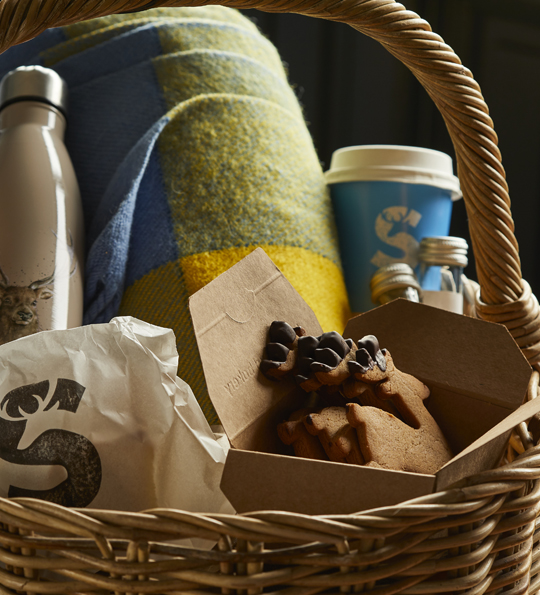 A picnic hamper to be enjoyed on our picnic grounds with a flask, blanket and cookies