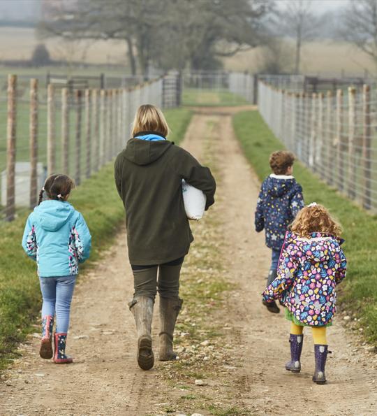 Children walking about sky park farm
