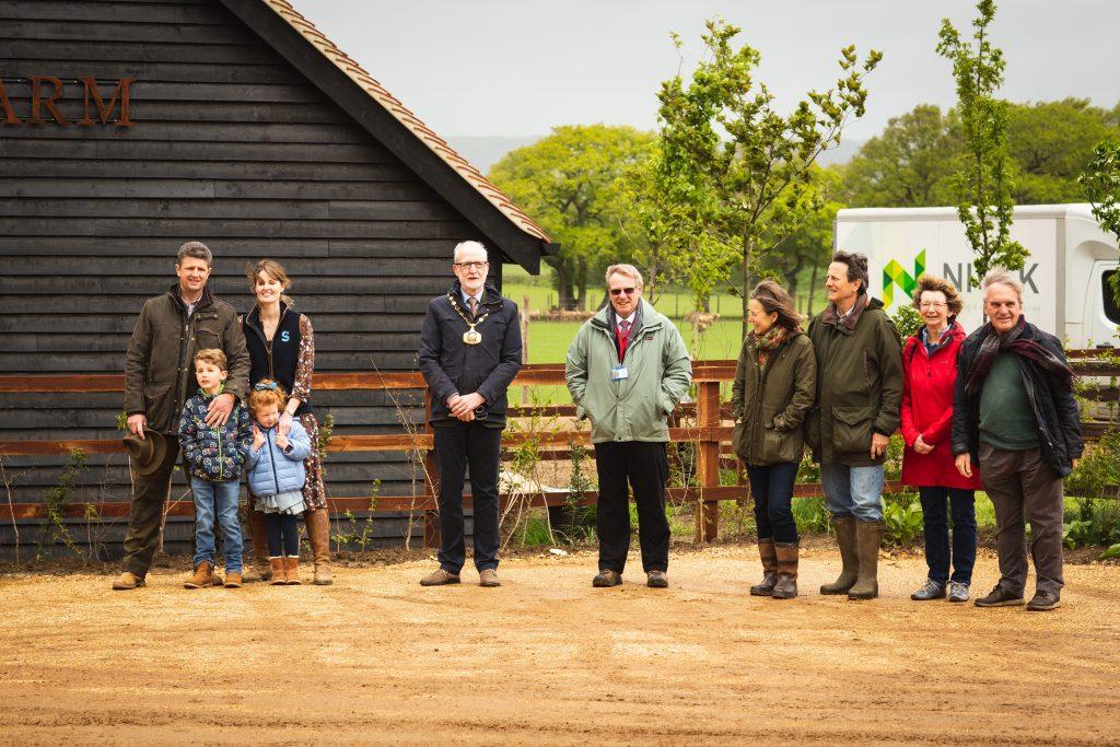 Mayor of Petersfield behind the opening ribbon of Sky Park Farm
