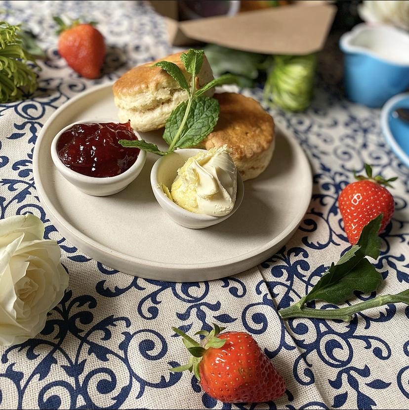 Cream tea, Scones, jam & cream at Sky Park Farm