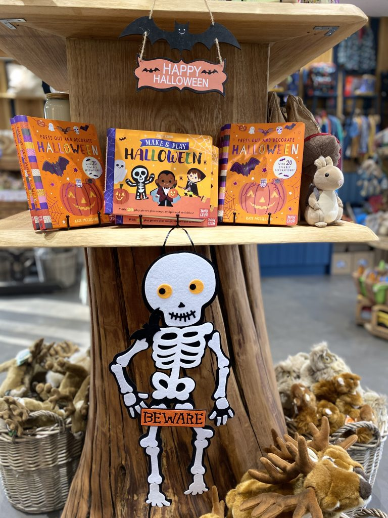 Halloween themed books and toys in the Visitor Centre at Sky Park Farm